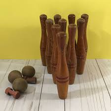 Antique Wooden Bowling Game Vintage Wooden Toy Bowling Set Antique Small Skittles Complete 42