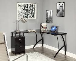 grey home office. Chrome Lighting Ideas Above Black Corner Computer Desk Furniture And Grey Wall Color Inspiration For Gorgeous Home Office With Best Large Rugs Decor