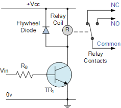 electrical relay and solid state relays for switching flywheel diode across relay coil