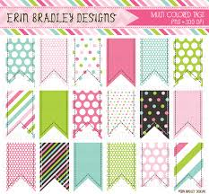 Erin Bradley Designs NEW Colorful Tags Bunting Digital Papers