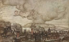 on j m barrie and peter pan essays on mythic fiction art baby peter flies over london by arthur rackham