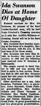 Swanson, Ida - Dies at Home of Daughter - Newspapers.com