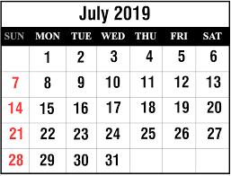Free Download July 2019 Printable Calendar Template In Pdf