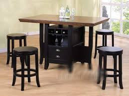 Casual Dining Room Design with Counter Height Kitchen Tables, Wine Rack  Storage Units, and