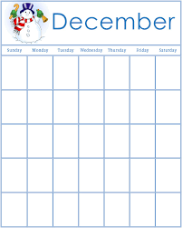 December Calendar Blank Preschool Calendars