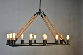 diy rope pendant light rope pendant light chandelier kit cord lamps shade com filament rectangular jute