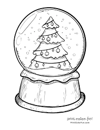 Small Picture Snow globe with a Christmas tree coloring page Print Color Fun