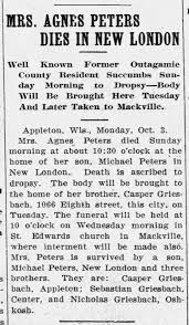 Agnes Griesbach Peters New London 1910 Death - Newspapers.com