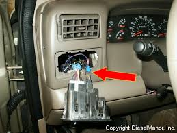 3 gauge install pictures headlight wiring gauge Headlight Wiring Gauge 1999 2003 7 3l powerstroke gauge lighting power source arrow is pointing to a light blue wire with red trace to remove the headlight switch,