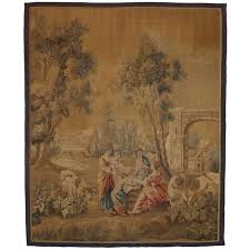 late 19th century antique french aubusson wall tapestry with old world charm for