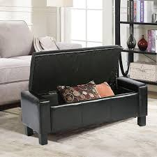com bestmassage storage ottoman bench bed bench bedroom bench seat footstool with leather tufted upholstered rectangular 42 black kitchen dining