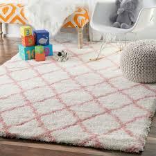 soft plush geometric diamond kids baby pink area rugs 4 x