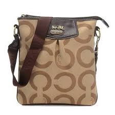 Coach Swingpack In Signature Medium Khaki Crossbody Bags CEY