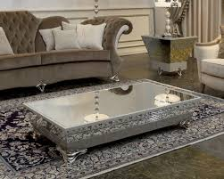 silver and glass coffee table living room