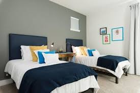 modern twin bed. Modern Bedroom Ideas With Grey Accent Wall And Comfortable Twin Bed Within Contemporary Decor 13 F