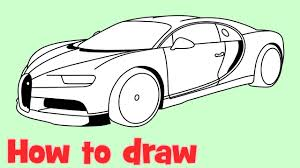 A set of design sketches and other images from the design development process of the veyron successor. How To Draw A Car Bugatti Chiron Youtube