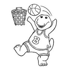 coloring pages of basketball.  Basketball Barney Playing Basketball Coloring Pages With Of G