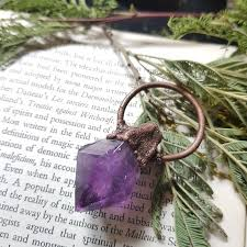 large raw amethyst copper pendant necklace antique copper pendant pagan wicca