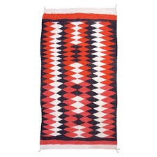 early 20th century red white and brown navajo rug for