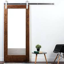 barn door with mirror wood and 1 panel stained sliding interior pottery over the review