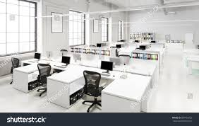office space desk. Modern Open Office Space With Desks And Chairs 3D Illustration Desk