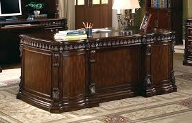union hill double pedestal executive desk with leather insert top recent dark brown large solid wood executive home office desk 5