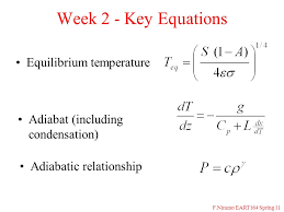 11 f nimmo eart164 spring 11 week 2 key equations equilibrium temperature adiabatic relationship adiabat including condensation