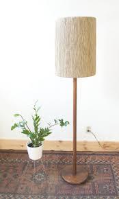 mid century vintage danish teak floor lamp with custom jute rope shade