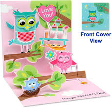 Mothers Greeting Card Pop Up Treasures Greeting Card Owls Mothers Day