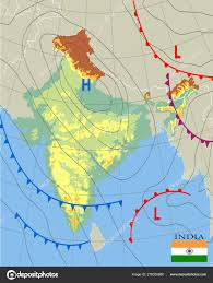 India Realistic Synoptic Map Of The India Showing Isobars
