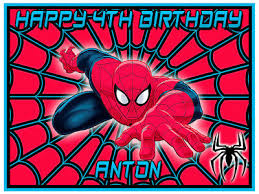 Spiderman Edible Icing Image Personalised A4 Party Decoration Cake