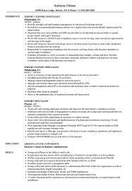 Export Specialist Resume Samples Velvet Jobs