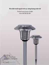 Đèn bắt muỗi ngoài trời sạc pin năng lượng mặt trời
