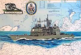 Us Navy Ship Chart Uss Shiloh Cg 67 Nautical Chart Art Print Us Navy Sailor