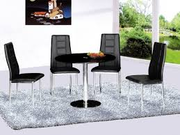 large round glass dining table with 4 chairs set