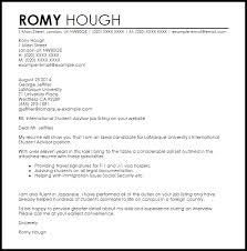 International Student Advisor Cover Letter Sample