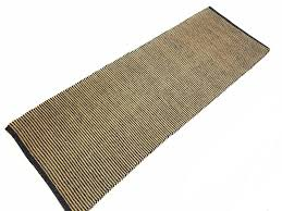 beige dark petrol blue two tone thin stripe cotton jute rug