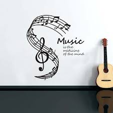 Stave Music Music Is The Medicine Of The Mind Wall Stickers For Living Room Decoration Musical Notes Stave Music Note Wall Decals Home Decor