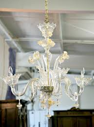 vintage four light gold dust murano glass daffodil chandelier