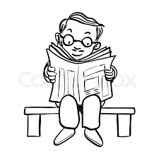 hand drawing of cartoon man wear gles read news paper on bench isolated on white background black and white simple line vector ilration for coloring