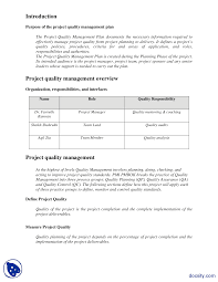 Quality Management Plan Example Engineering Project