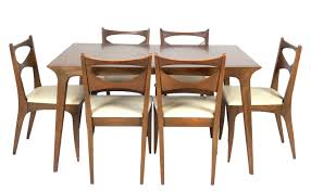 walnut mid century modern dining table by john van koert for drexel