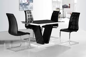 ga vico blg white black gloss designer 120 cm dining set 4 with and table decorations