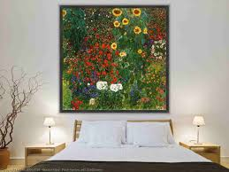 famous painting farm garden with sunflowers of gustav klimt hand made oil painting print on canvas print on textured canvas print on metal