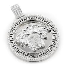 versace style medusa head diamond pendant medallion 0 52ct 10k gold main image