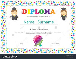 preschool kids diploma certificate elementary school stock vector  preschool kids diploma certificate elementary school design template background