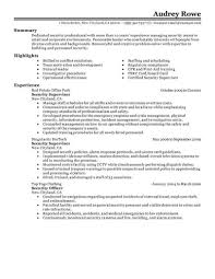 Security Supervisor Resume Letter Example
