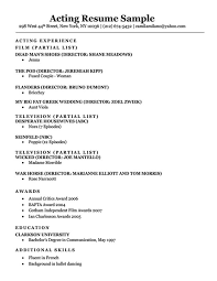 Acting Resume Outline Acting Resume Sample