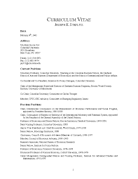 Gallery Of 8 Curriculum Vitae For Graduate School Budget Template