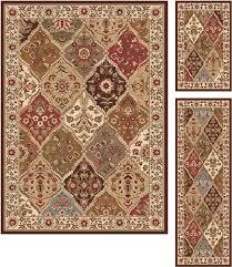 tayse rugs elegance multicolored area rug 3 piece set